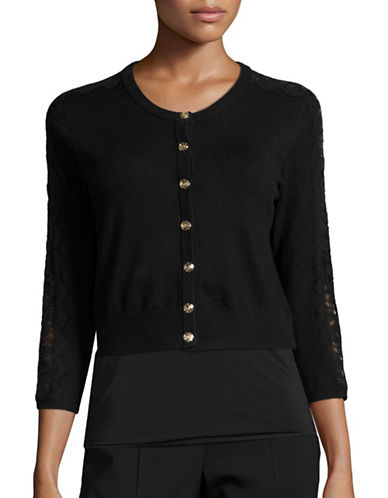 Karl Lagerfeld Paris Lace Combo Crew Neck Cardigan-BLACK-Medium 88832422_BLACK_Medium