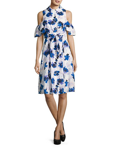 Ivanka Trump Floral Cold-Shoulder Shirt Dress-MULTI-10