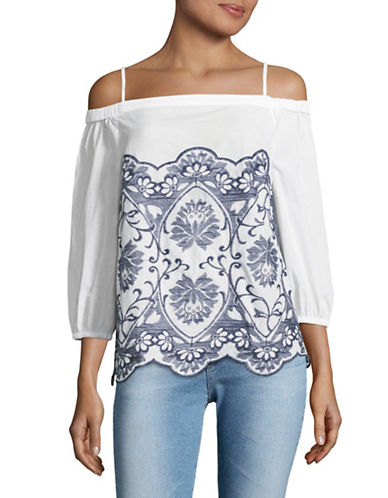 Ivanka Trump Embroidered Off-the-Shoulder Top-IVORY-Small