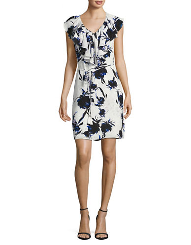 Ivanka Trump Floral Ruffle V-Neck Sheath Dress with Self-Tie-MULTI-10