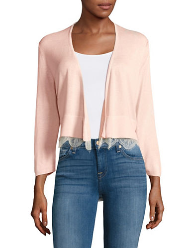 Tommy Hilfiger Open-Front Shrug with Lace Hem-PINK-Large