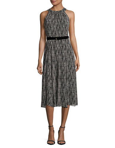 Tommy Hilfiger Halter Chiffon Coin Toss Dress with Belt-BLACK/IVORY-10