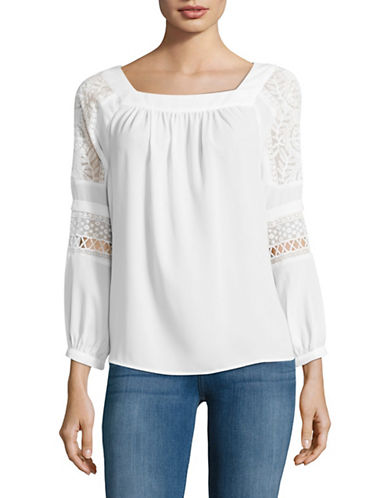 Ivanka Trump Long Sleeve Lace Trim Peasant Top-WHITE-Small 89032189_WHITE_Small