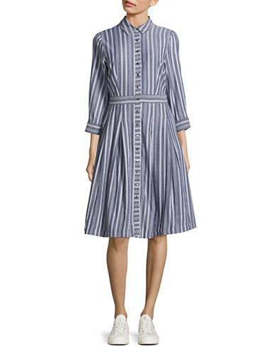 Ivanka Trump Striped Midi Shirt Dress-BLUE-12