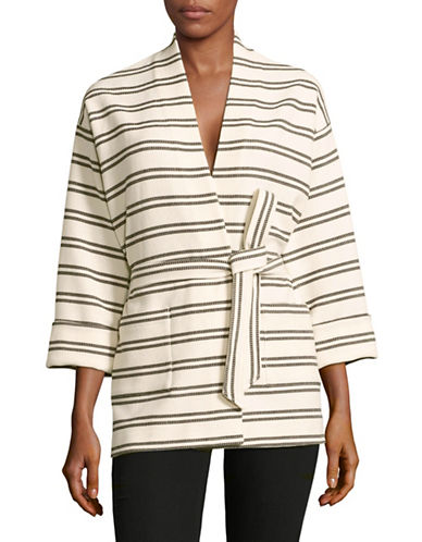 Ivanka Trump Striped Belted Wrap Jacket-WHITE-4