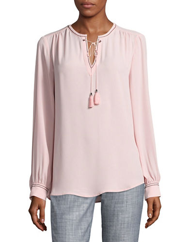 Ivanka Trump Tassel Piped Blouse-PINK-Large