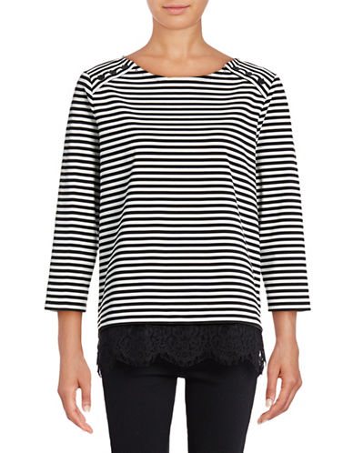 Karl Lagerfeld Paris Stripe Three-Button Top-GREY-X-Large 88975983_GREY_X-Large