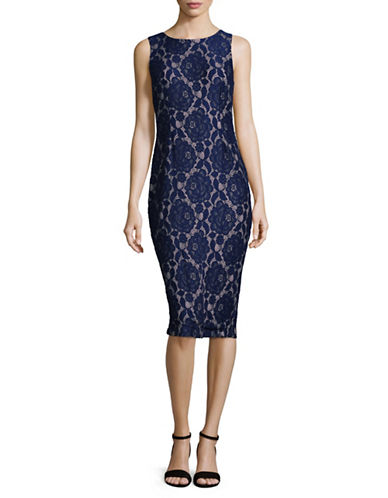 Ivanka Trump Sleeveless Lace Sheath Dress-NAVY-14