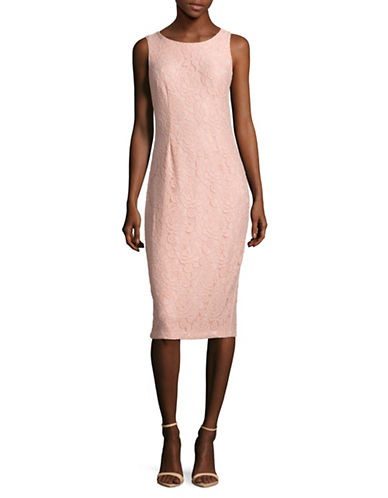 Ivanka Trump Sleeveless Floral Lace Sheath Dress-PINK-10