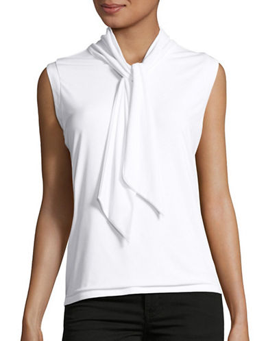 Karl Lagerfeld Paris Tie-Neck Tank-WHITE-Large 88862821_WHITE_Large