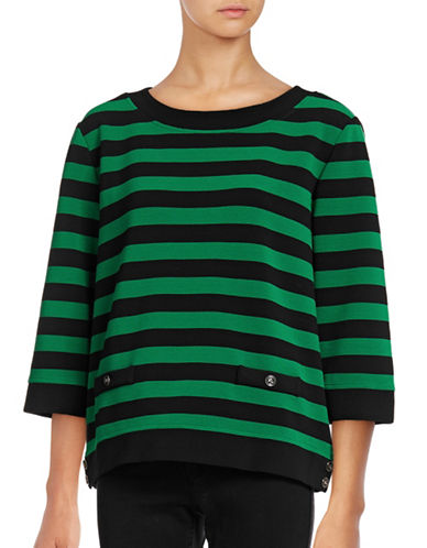 Karl Lagerfeld Paris Striped Button-Trim Trapeze Top-GREEN-Medium 88862810_GREEN_Medium