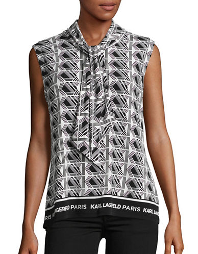 Karl Lagerfeld Paris Geometric-Print Tie-Neck Tank-BLACK-Small 88862799_BLACK_Small