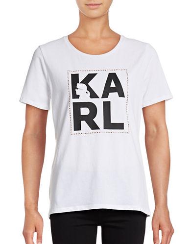 Karl Lagerfeld Paris Ditsy Karl Logo Tee-WHITE-Medium 88807530_WHITE_Medium
