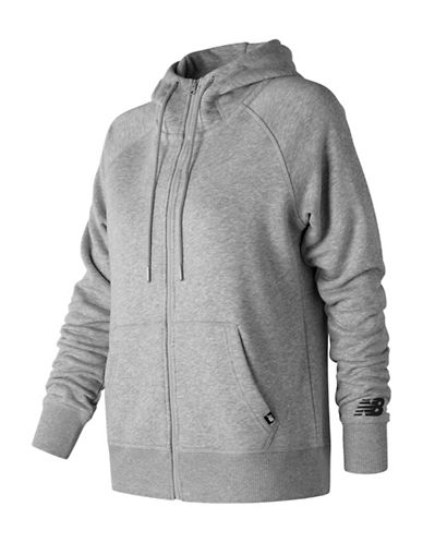 New Balance Zip-Up Fleece Hoodie-GREY-X-Small