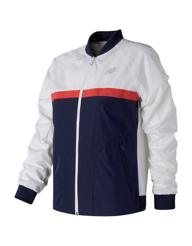 New Balance Athletic Raglan Sleeve Jacket-WHITE MULTI-Medium