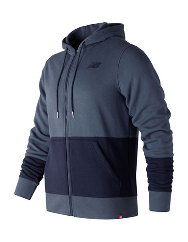 New Balance Full Zip Hoodie-BLUE-X-Large