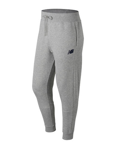 New Balance Ribbed Drawstring Sweatpants-GREY-Medium