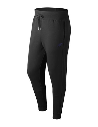 New Balance Ribbed Drawstring Sweatpant-BLACK-Large