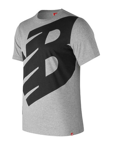 New Balance Essentials Logo Cotton T-Shirt-GREY-Large