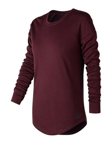 New Balance 247 Luxe Wool-Blend Long-Sleeve Tee-WINE-X-Large