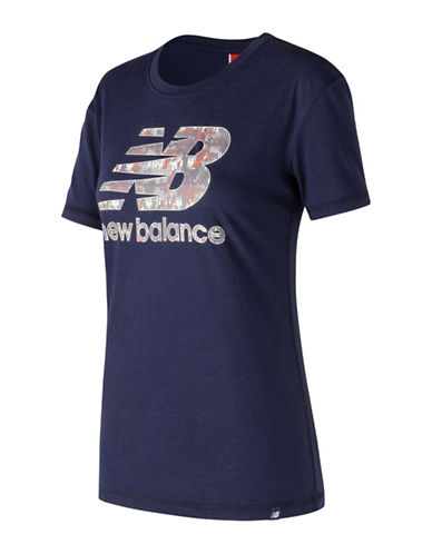 New Balance Logo Short-Sleeve Tee-BLUE-Large