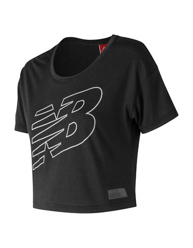 New Balance Athletic Cropped Tee-BLACK-Small