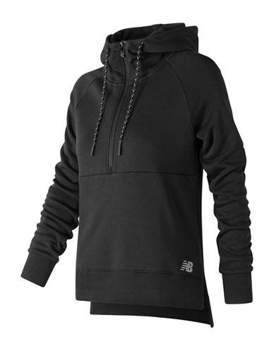 New Balance Athletic Half-Zip Hoodie-BLACK-X-Small