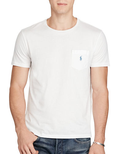 Polo Ralph Lauren Jersey Pocket Crew Neck T-Shirt-WHITE-Large 88700604_WHITE_Large