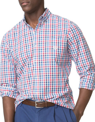 Chaps Custom-Fit Checked Poplin Sport Shirt-RED-Medium