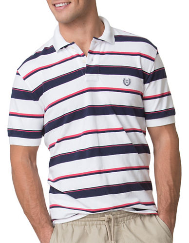 Chaps Custom-Fit Striped Pique Polo-WHITE-Small