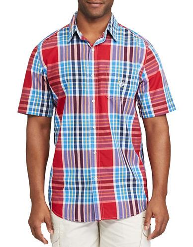 Chaps Short Sleeve Plaid Poplin Shirt-RED-Small