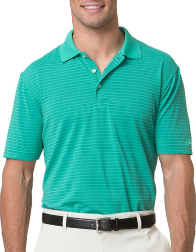 Chaps Striped Jersey Polo-GREEN-Large