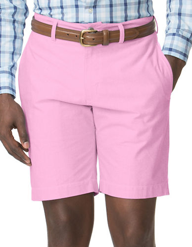 Chaps Flat-Front Oxford Shorts-PINK-40