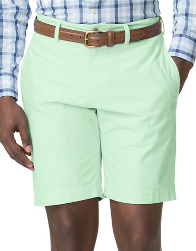 Chaps Flat-Front Oxford Shorts-GREEN-34