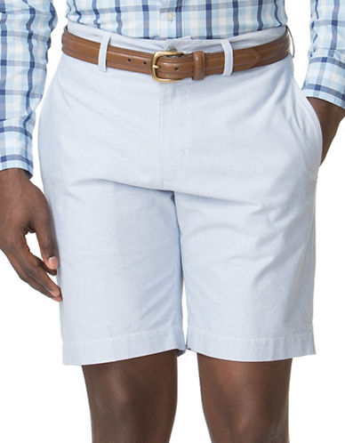 Chaps Flat-Front Oxford Shorts-BLUE-40