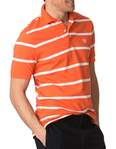 Chaps Big and Tall Striped Pique Polo-ORANGE-3X Tall