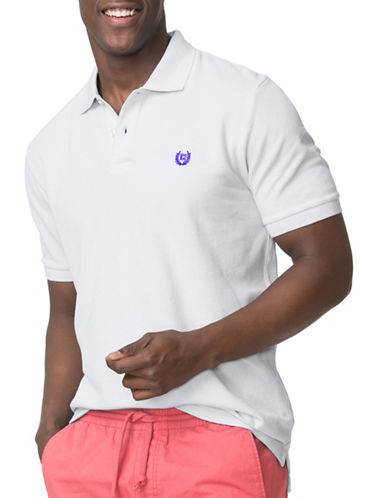 Chaps Solid Custom Fit Polo-WHITE-Small