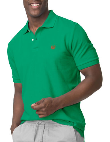 Chaps Solid Custom Fit Polo-GREEN-X-Large
