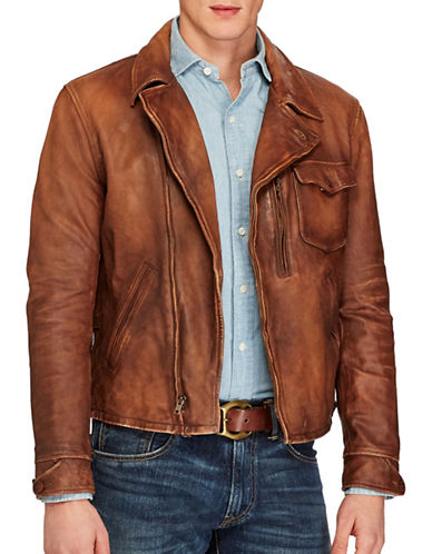Polo Ralph Lauren Leather Moto Jacket-BROWN-Large 88965675_BROWN_Large