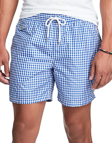 Polo Ralph Lauren Traveler Gingham Boardshorts-PURE SAPPHIRE-Small