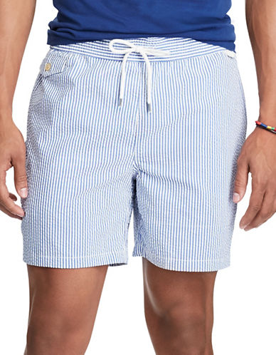 Polo Ralph Lauren Traveler Seersucker Boardshorts-BLUE-Small