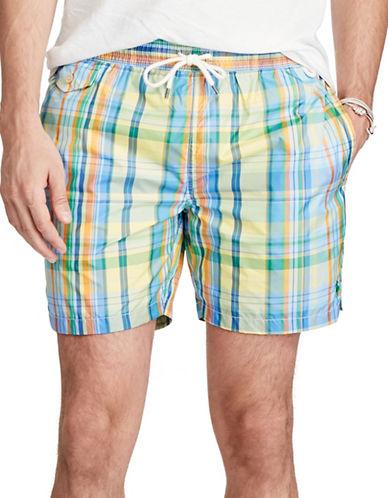 Polo Ralph Lauren Plaid Traveler Swim Trunk-YELLOW-XX-Large