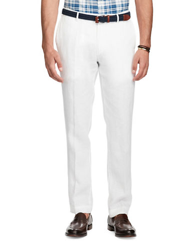 Polo Ralph Lauren Slim Fit Linen Pants-WHITE-34X30