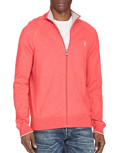 Polo Ralph Lauren Cotton Full-Zip Sweater-RED-Large