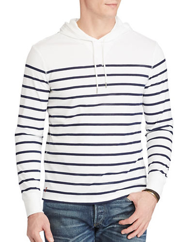 Polo Ralph Lauren Striped Pima Jersey Hoodie-WHITE-Medium 88967282_WHITE_Medium