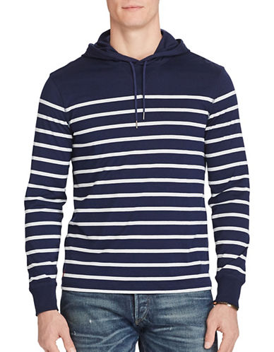 Polo Ralph Lauren Striped Pima Jersey Hoodie-BLUE-X-Large 88967289_BLUE_X-Large