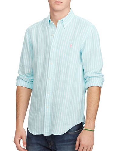 Polo Ralph Lauren Standard-Fit Striped Linen Shirt-AQUA/WHITE-XX-Large