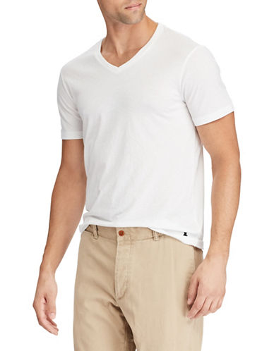 Polo Ralph Lauren V-Neck Custom Slim-Fit Jersey Tee-WHITE-Large