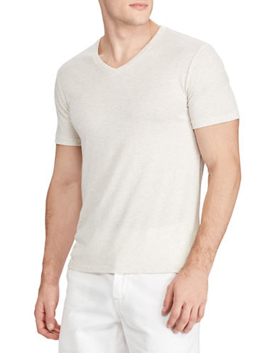 Polo Ralph Lauren V-Neck Custom Slim-Fit Jersey Tee-NATURAL-Small