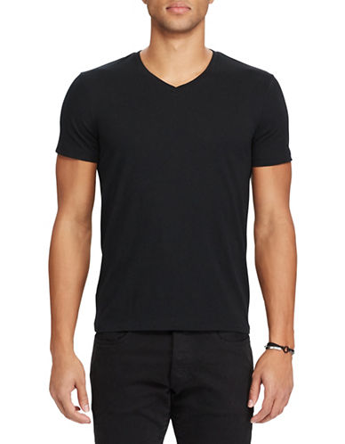 Polo Ralph Lauren V-Neck Custom Slim-Fit Jersey Tee-BLACK-XX-Large